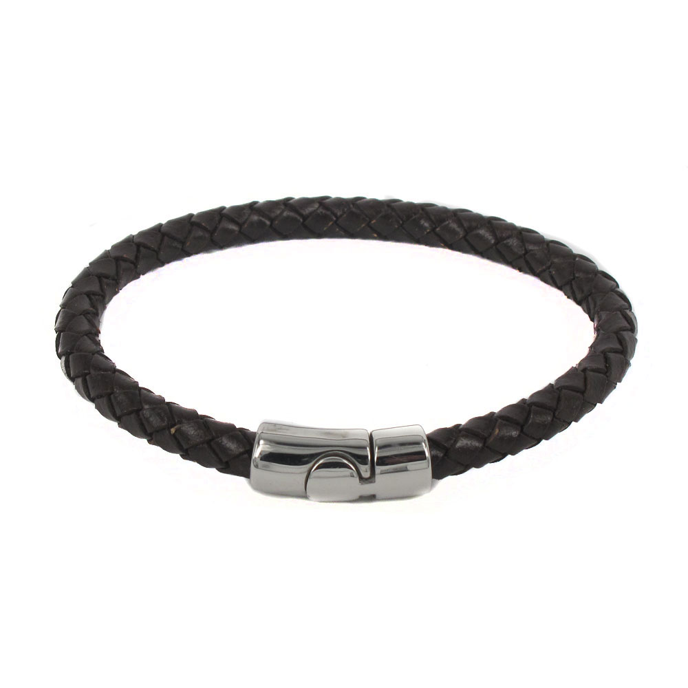 6mm Brown Braided Bolo Leather Bracelet Stainless Steel Magnetic